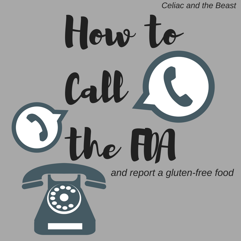 How to Call the FDA for gluten-free food