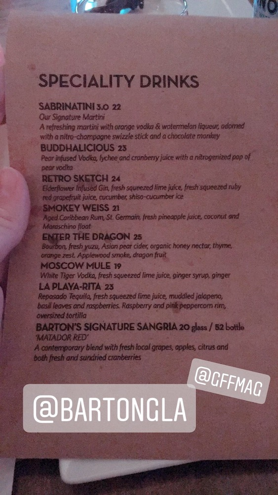 Barton G Cocktail List