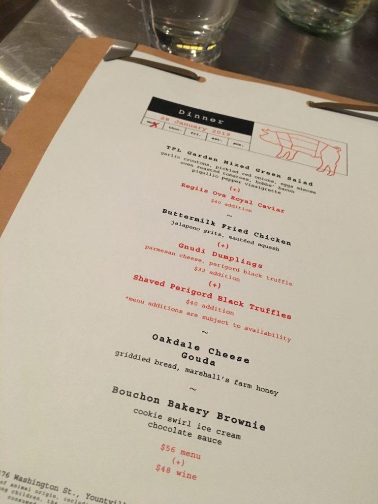 the family-style menu of Ad Hoc in Napa, CA