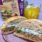 Hilary's Organic Spicy Thai Veggie Burgers and Cilantro Mayo Half Sandwiches