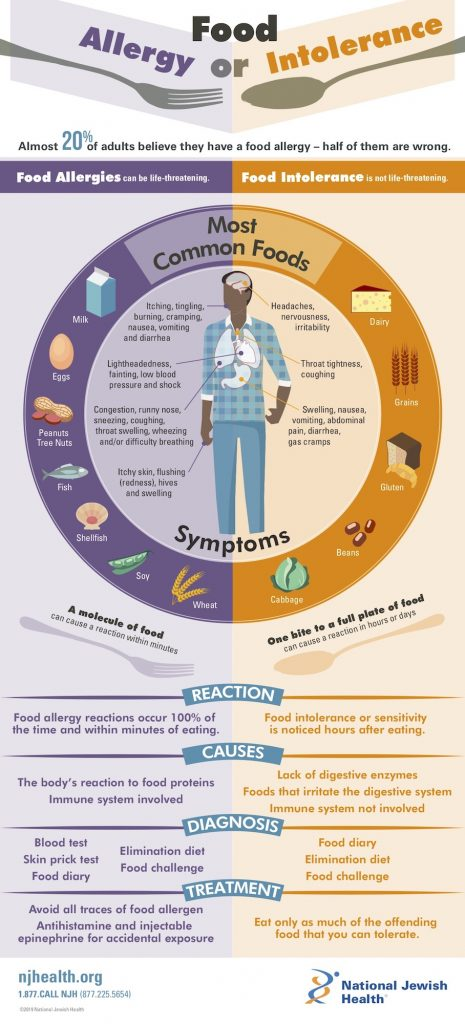 Food Allergy or Food Intolerance Infographic from National Jewish Health