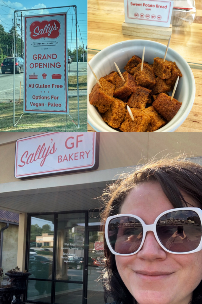Multiple images of Sally's GF Bakery including a Grand Opening Sign, and their sweet potato bread.