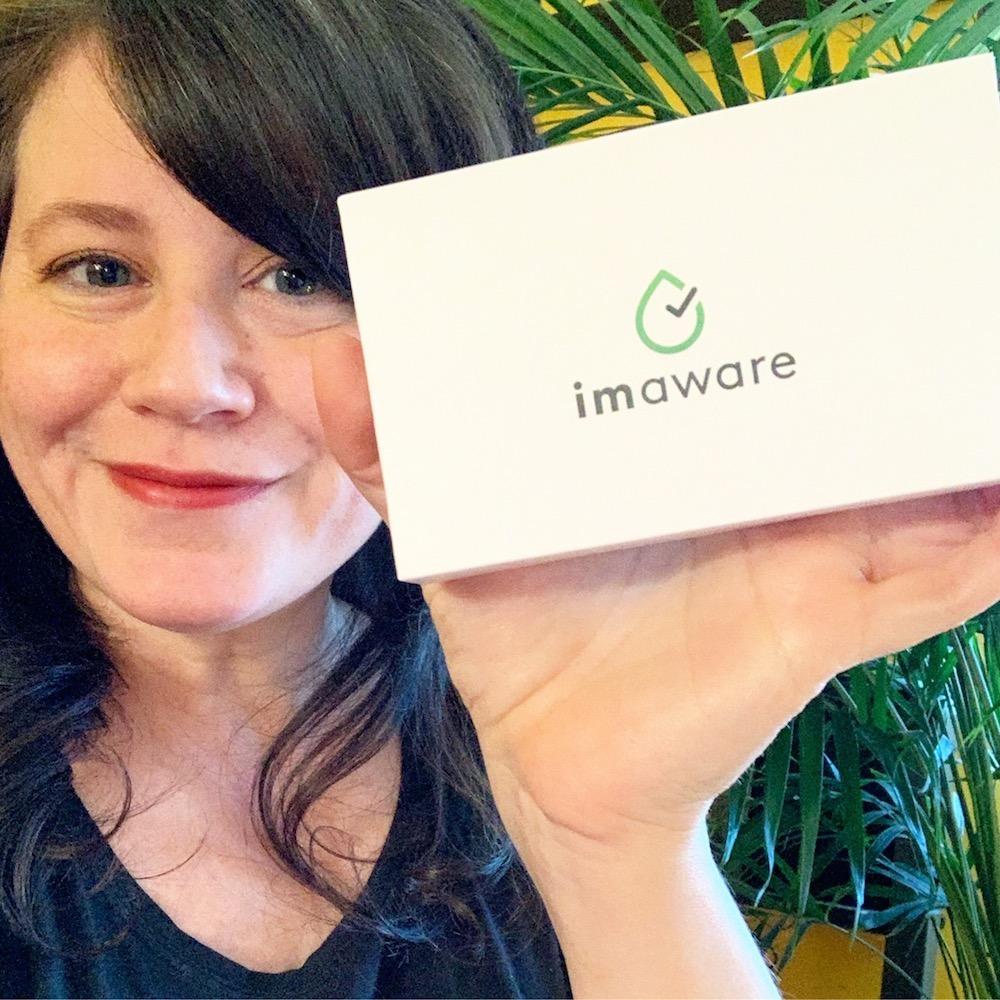Erica showing off an imaware box circa 2019