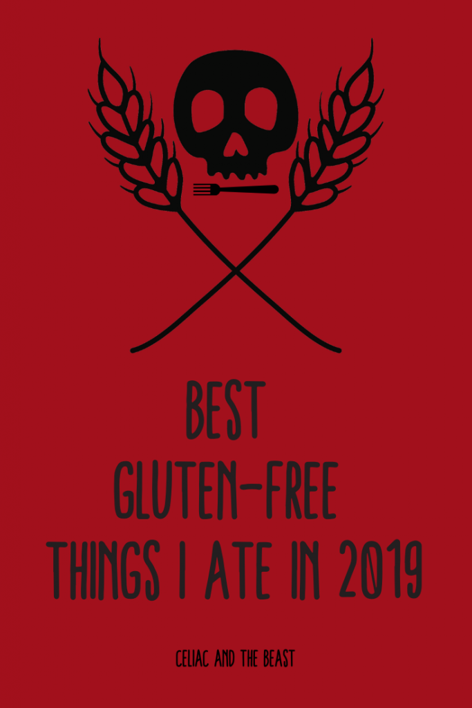 Best Gluten-Free Things I Ate in 2019 Banner with Skull and Fork for a Mouth