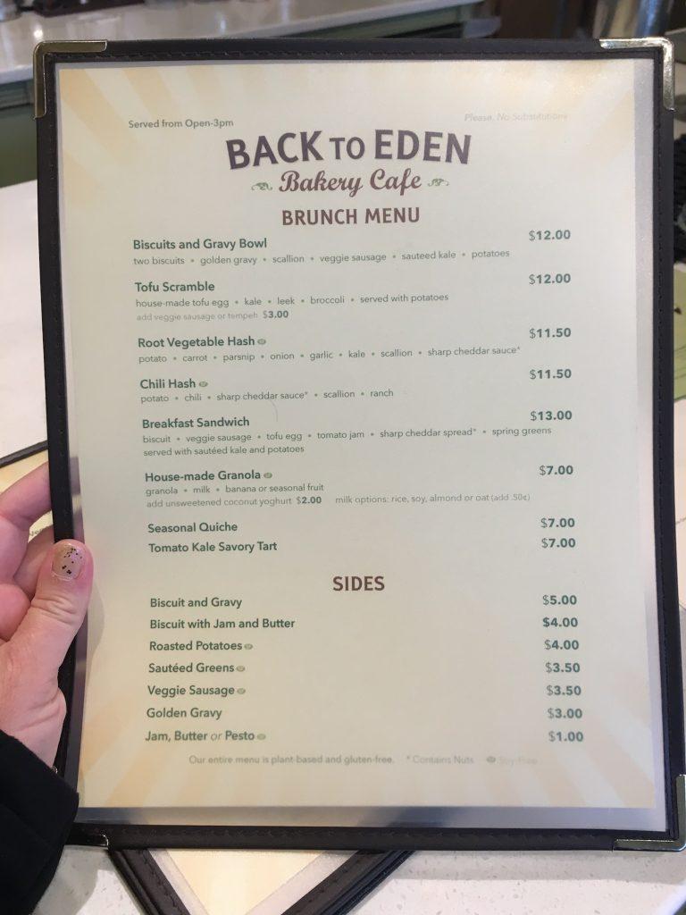 Back to Eden Brunch Menu featuring brunch gluten-free items and sides.