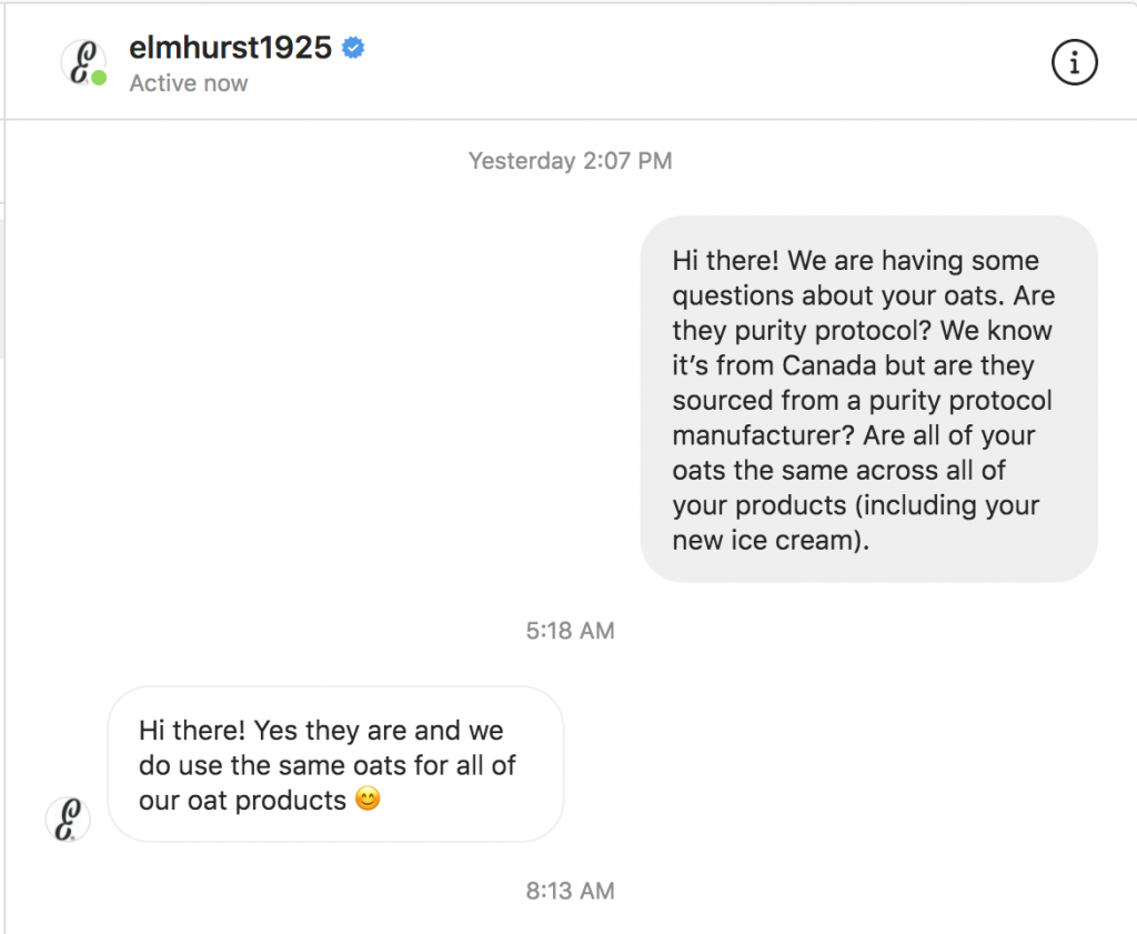 Instagram conversation between Celiac and the Beast and Elmhurst 1925 where they claim that all of their products are made with purity protocol gluten free oats