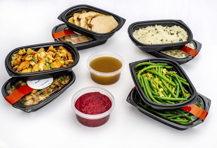 Shows Epicured low-fodmap side dishes available to ship this Thanksgiving - mashed potatoes, stuffing, green beans, cranberry sauce, gravy, and turkey