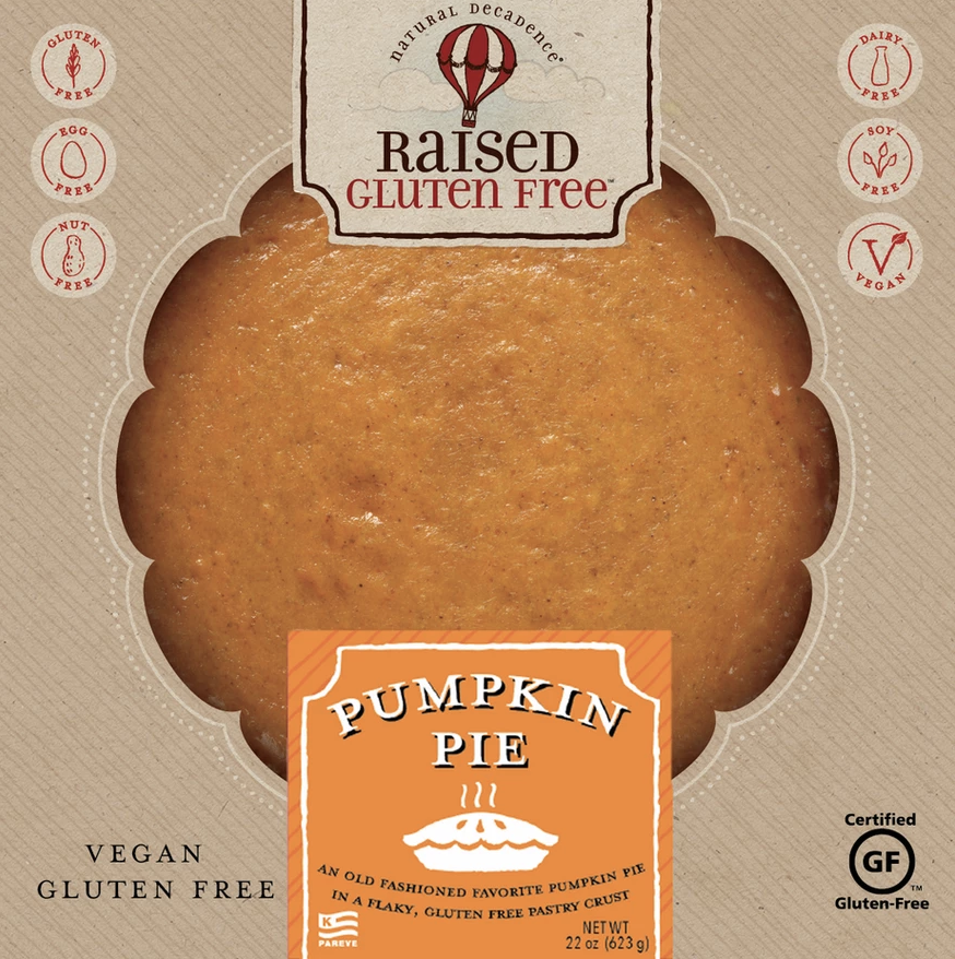 Package of Raised Gluten Free Pumpkin Pie showing certified gluten-free symbol and the label vegan and gluten free.